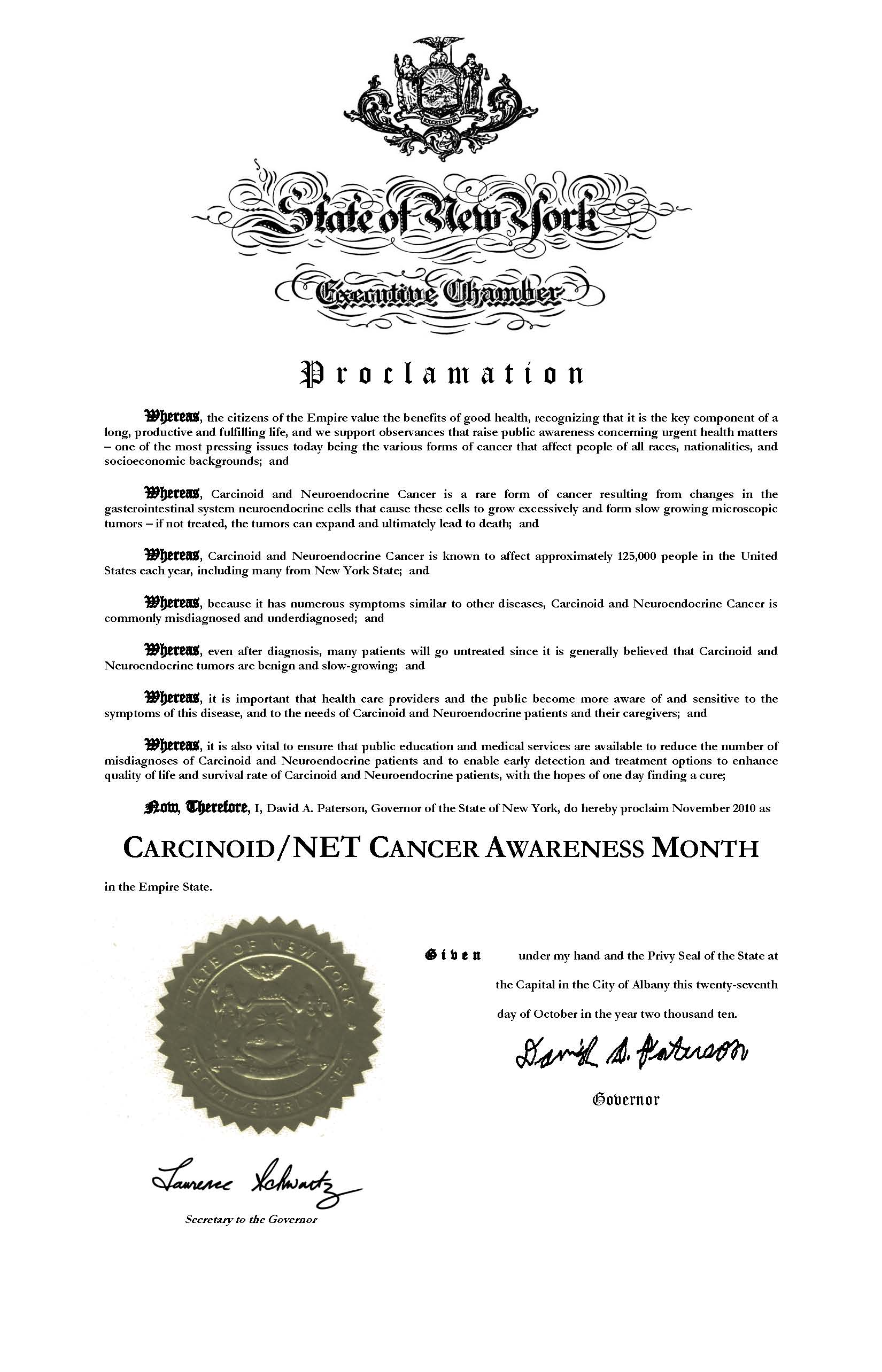 Carcinoid Awareness Month Proclamation in New York State