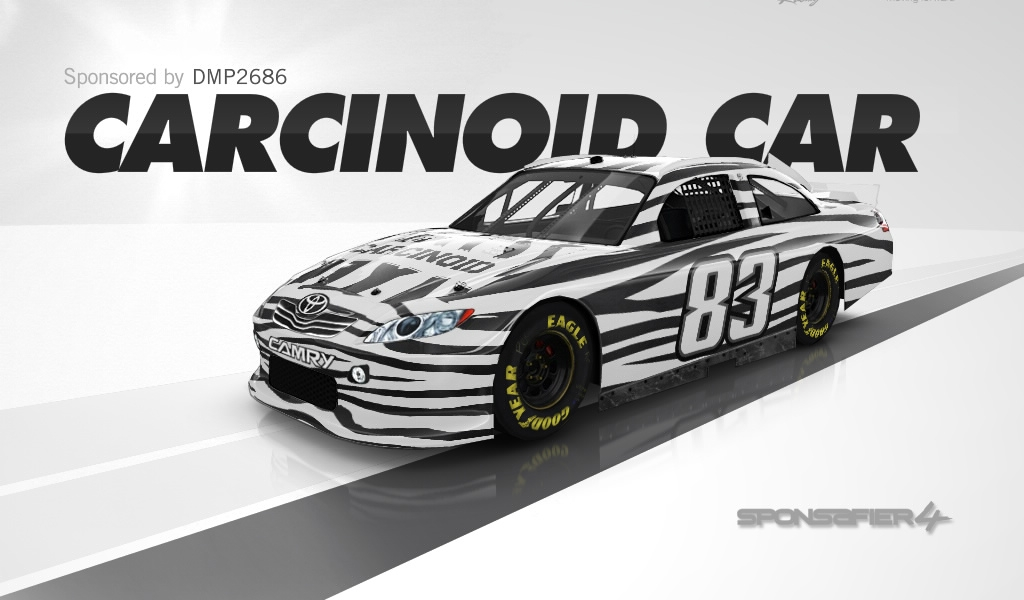 Carcinoid car is a finalist in NASCAR Sponsifier competition
