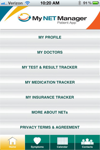 Mobile app for carcinoid cancer and neuroendocrine tumor patients, My NET Manager