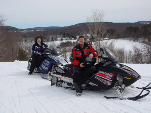 ackie and Jeff Gregory snowmobiling